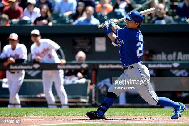 Norichika Aoki of the Kansas City Royals hits a triple against the Baltimore Orioles in the first inning at Oriole Park at Camden Yards on April 27,...