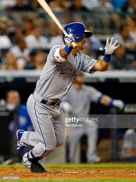 Norichika Aoki of the Kansas City Royals hits an RBI single during the third inning against the New York Yankees in a MLB baseball game at Yankee...