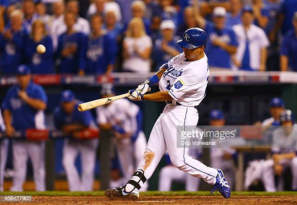 Norichika Aoki of the Kansas City Royals hits the game tying sacrafice fly in the ninth inning against the Oakland Athletics during the American...
