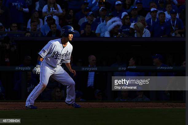 Norichika Aoki of the Kansas City Royals leads off of first base in the fifth inning against the Baltimore Orioles during Game Four of the American...