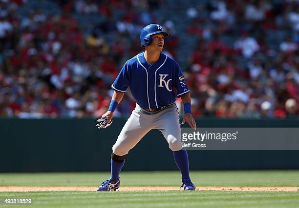 Norichika Aoki of the Kansas City Royals leads off of second base after coming into the game against the Los Angeles Angels of Anaheim as a pinch...