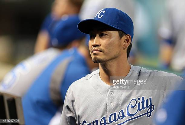 Norichika Aoki of the Kansas City Royals looks in from the dugout in the fourth inning against the Texas Rangers at Globe Life Park in Arlington on...