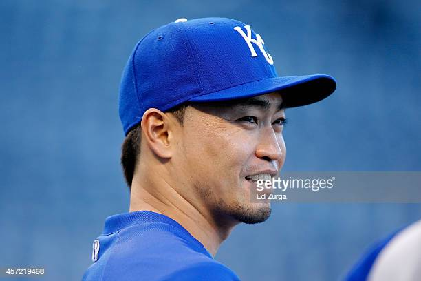 Norichika Aoki of the Kansas City Royals looks on during batting practice prior to Game Three of the American League Championship Series against the...