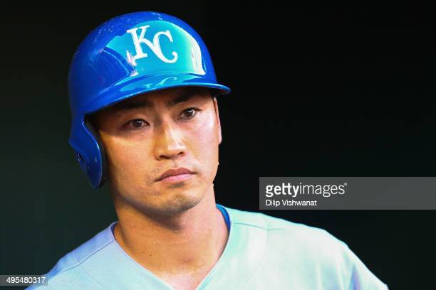 Norichika Aoki of the Kansas City Royals looks on from the dugout in the first inning against the St. Louis Cardinals at Busch Stadium on June 3,...