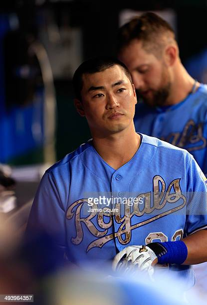 Norichika Aoki of the Kansas City Royals looks out from the dugout during the 2nd inning of the game against the Houston Astros at Kauffman Stadium...