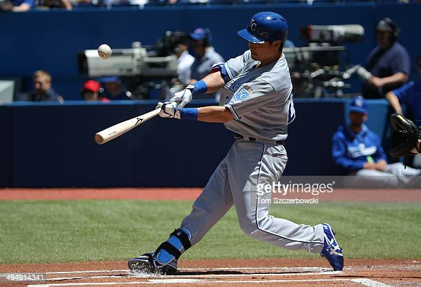 Norichika Aoki of the Kansas City Royals pops out in the first inning during MLB game action against the Toronto Blue Jays on May 31, 2014 at Rogers...