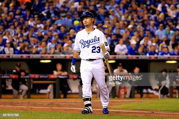 Norichika Aoki of the Kansas City Royals reacts after making an out in the first inning against the San Francisco Giants during Game One of the 2014...