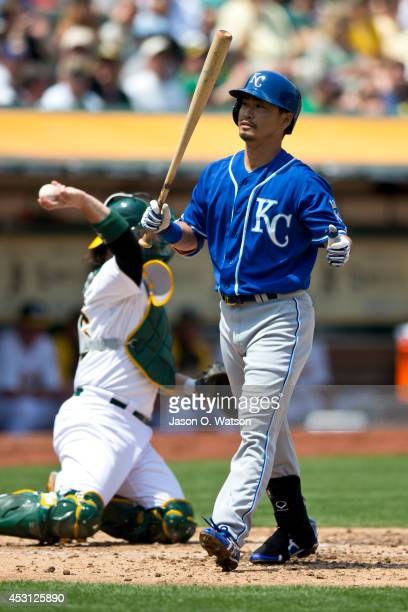 Norichika Aoki of the Kansas City Royals reacts after striking out against the Oakland Athletics during the third inning at Oco Coliseum on August 3...