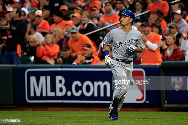 Norichika Aoki of the Kansas City Royals runs back after grounding out to Bud Norris of the Baltimore Orioles in the fifth inning during Game Two of...