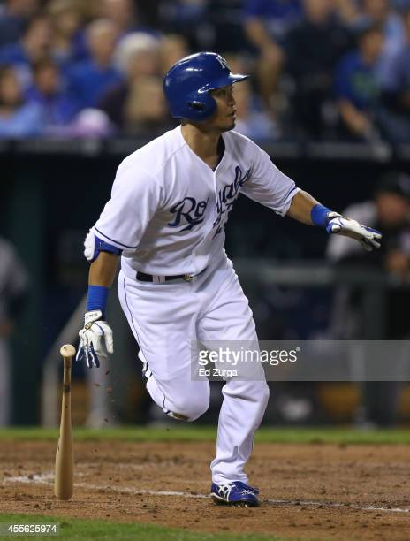 Norichika Aoki of the Kansas City Royals runs to first after hitting a single in the fourth inning during a game against the Chicago White Sox at...