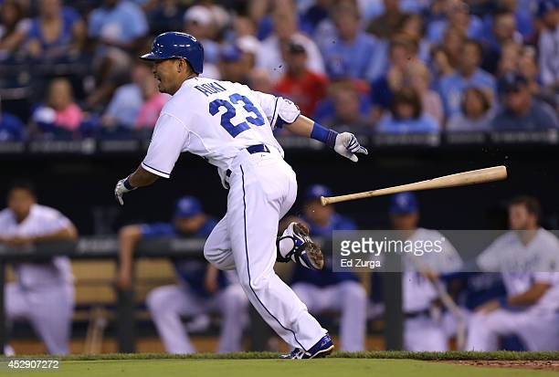 Norichika Aoki of the Kansas City Royals runs to first after laying down a bunt in the fourth inning against the Minnesota Twins at Kauffman Stadium...