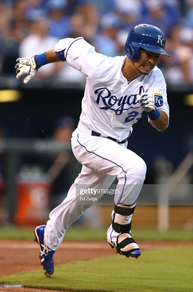 Norichika Aoki #23 of the Kansas City Royals runs to first as he hits a single in the first inning against the Cleveland Indians on August 31, 2014 at Kauffman Stadium in Kansas City, Missouri.