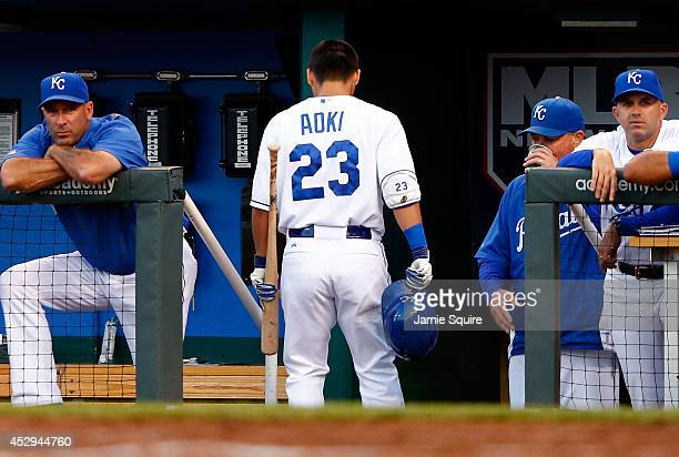Norichika Aoki of the Kansas City Royals walks off the field into the dugout after striking out during the game against the Minnesota Twins at...