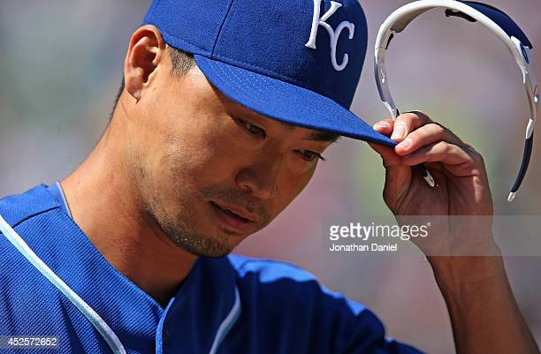 Norichika Aoki of the Kansas City Royals walks to the outfield during a game against the Chicago White Sox at US Cellular Field on July 23 2014 in...