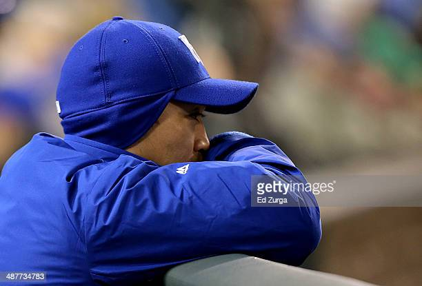 Norichika Aoki of the Kansas City Royals watches from the dugout in the eighth inning during a game against the Toronto Blue Jays at Kauffman Stadium...