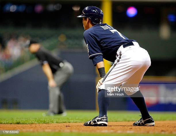 Norichika Aoki of the Milwaukee Brewers looks on in the seventh inning against the Los Angeles Angels of Anaheim during their game at Miller Park on...