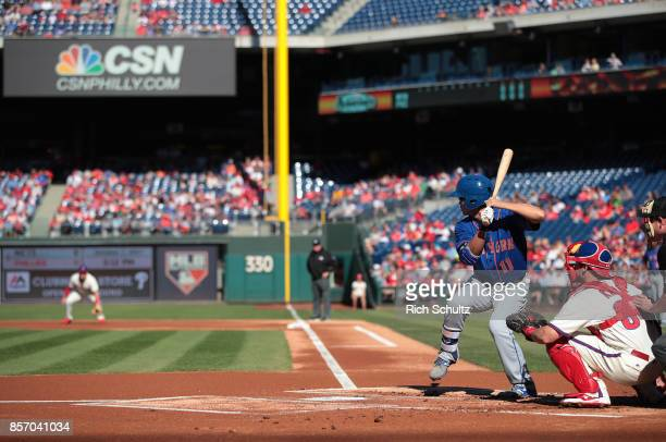 Norichika Aoki of the New York Mets bats against the Philadelphia Phillies during the first inning of a game at Citizens Bank Park on October 1 2017...