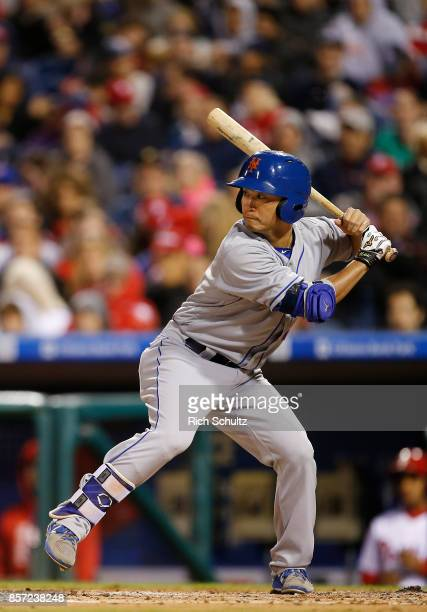 Norichika Aoki of the New York Mets bats against the Philadelphia Phillies during the third inning of a game at Citizens Bank Park on September 30...