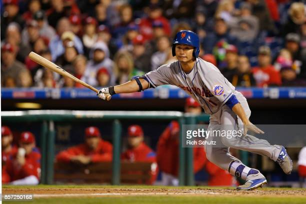 Norichika Aoki of the New York Mets bats against the Philadelphia Phillies during the seventh inning of a game at Citizens Bank Park on September 30...