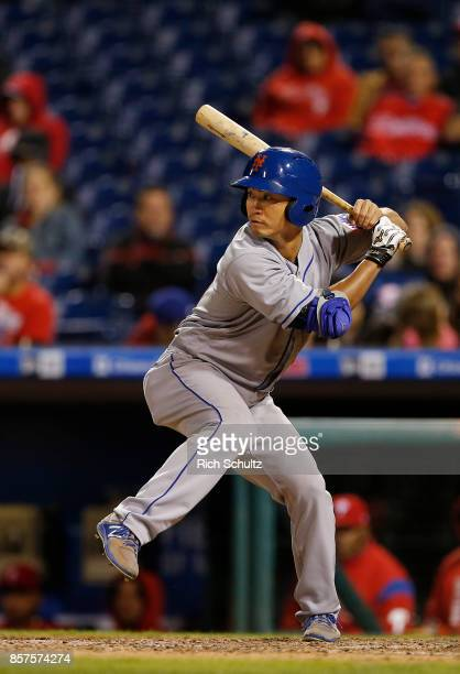 Norichika Aoki of the New York Mets bats against the Philadelphia Phillies during the 11th inning of a game at Citizens Bank Park on September 30...