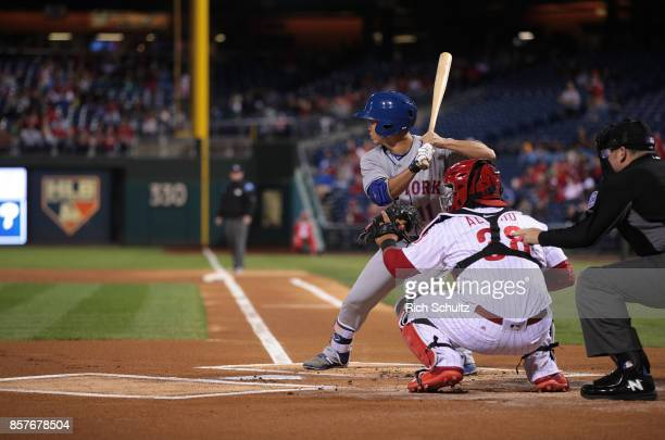 Norichika Aoki of the New York Mets bats against the Philadelphia Phillies during the first inning of a game at Citizens Bank Park on September 30...