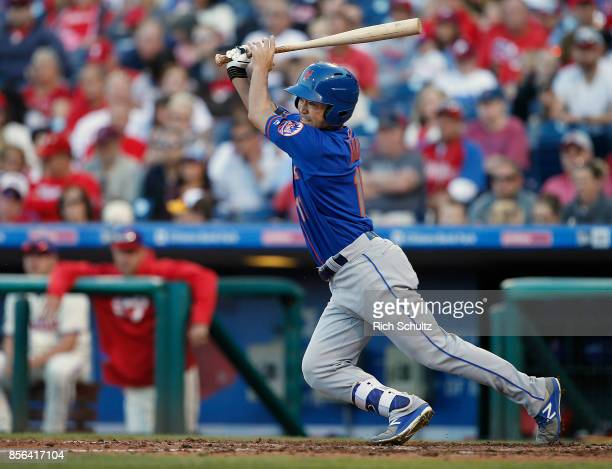 Norichika Aoki of the New York Mets groundnut to shortstop against the Philadelphia Phillies during the seventh inning of a game at Citizens Bank...