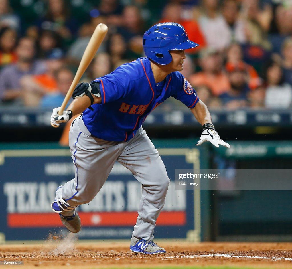 Norichika Aoki #11 of the New York Mets grounds out in the fifth inning against the Houston Astros in game two of a double-header at Minute Maid Park on September 2, 2017 in Houston, Texas.