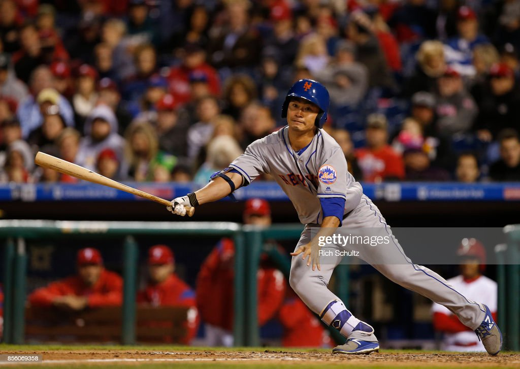 Norichika Aoki #11 of the New York Mets hits a foul ball against the Philadelphia Phillies during the seventh inning of a game at Citizens Bank Park on September 30, 2017 in Philadelphia, Pennsylvania.