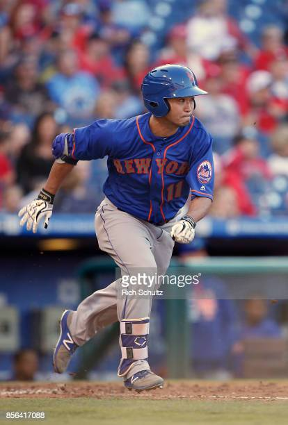 Norichika Aoki of the New York Mets hits a single against the Philadelphia Phillies during the fifth inning of a game at Citizens Bank Park on...
