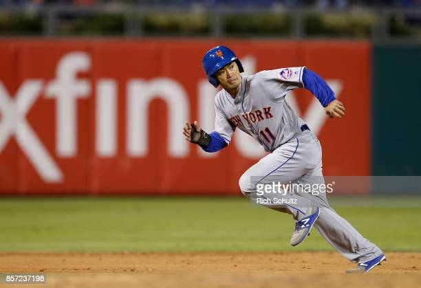Norichika Aoki of the New York Mets in action against the Philadelphia Phillies during the fifth inning of a game at Citizens Bank Park on September...