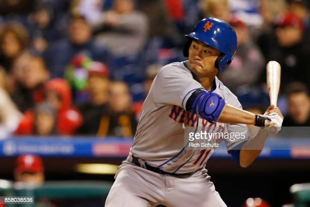 Norichika Aoki of the New York Mets in action against the Philadelphia Phillies during a game at Citizens Bank Park on September 30 2017 in...