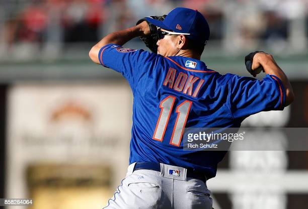 Norichika Aoki of the New York Mets in action against the Philadelphia Phillies during a game at Citizens Bank Park on October 1 2017 in Philadelphia...