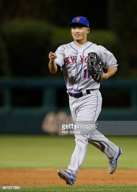 Norichika Aoki of the New York Mets runs off the field during a game against the Philadelphia Phillies at Citizens Bank Park on September 30 2017 in...