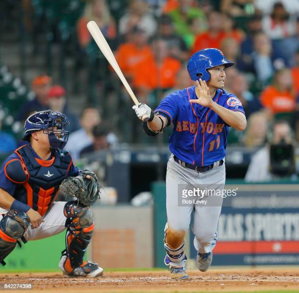 Norichika Aoki of the New York Mets singles in the second inning against the Houston Astros at Minute Maid Park on September 3 2017 in Houston Texas