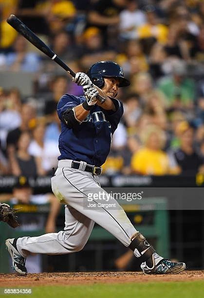 Norichika Aoki of the Seattle Mariners bats during the sixth inning during inter-league play against the Pittsburgh Pirates on July 27, 2016 at PNC...