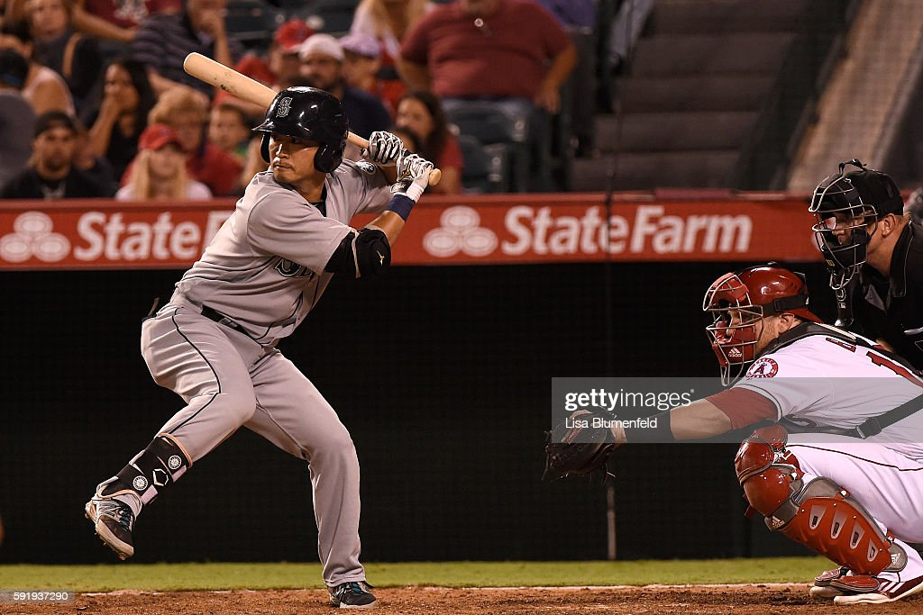 Norichika Aoki #8 of the Seattle Mariners bats in the eighth inning against the Los Angeles Angels of Anaheim at Angel Stadium of Anaheim on August 18, 2016 in Anaheim, California.