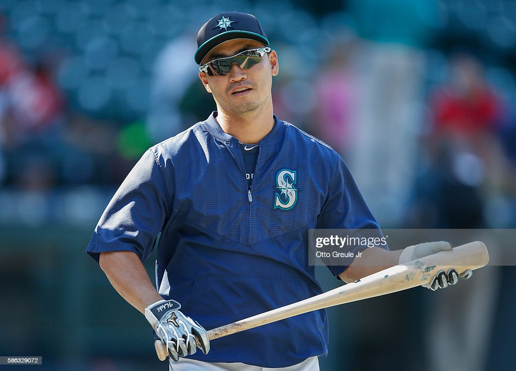 Norichika Aoki #8 of the Seattle Mariners looks on during batting practice prior to the game against the Los Angeles Angels of Anaheim at Safeco Field on August 5, 2016 in Seattle, Washington.