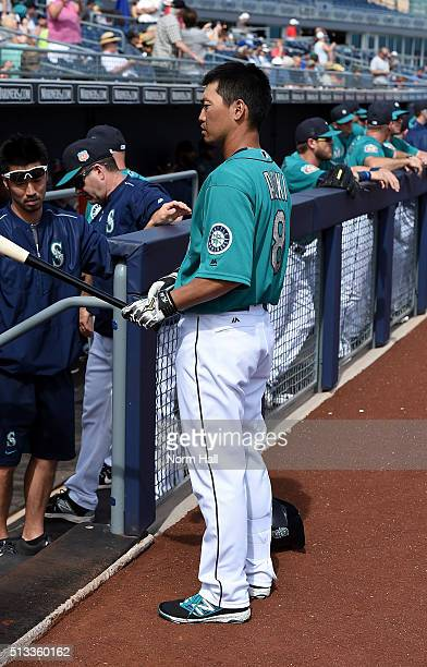 Norichika Aoki of the Seattle Mariners prepares for a game against the San Diego Padres at Peoria Stadium on March 2 2016 in Peoria Arizona Seattle...