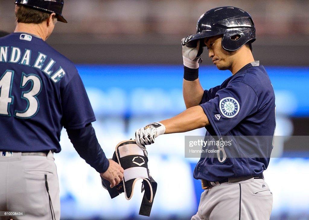 Norichika Aoki #8 of the Seattle Mariners reacts after grounding out to second base in an at bat against the Minnesota Twins during the third inning of the game on September 24, 2016 at Target Field in Minneapolis, Minnesota. The Twins defeated the Mariners 3-2.
