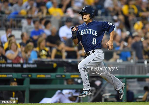 Norichika Aoki of the Seattle Mariners scores during the sixth inning during inter-league play against the Pittsburgh Pirates on July 27, 2016 at PNC...