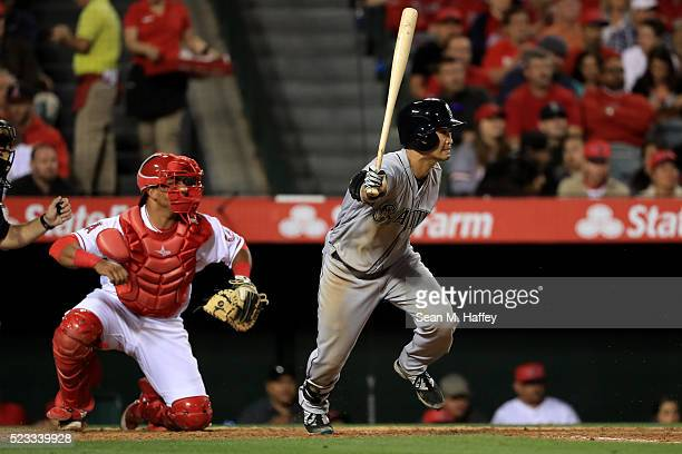 Norichika Aoki of the the Seattle Mariners grounds out during the fifth inning of a baseball game between the Los Angeles Angels of Anaheim and the...