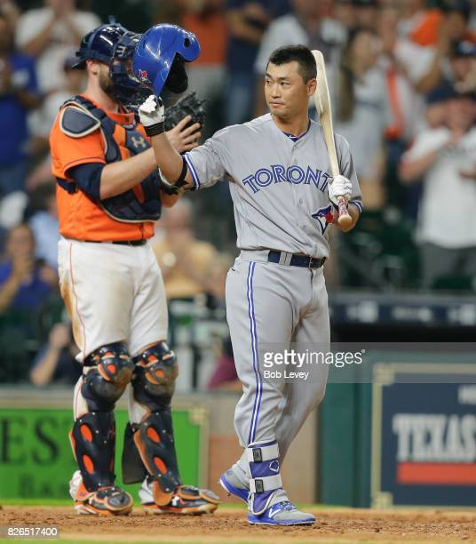 Norichika Aoki of the Toronto Blue Jays acknowledges the warm reception from the Hosuton crowd at Minute Maid Park on August 4 2017 in Houston Texas