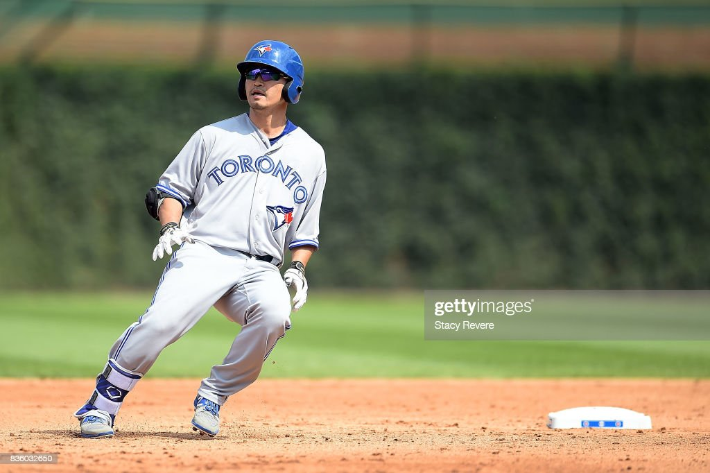 Norichika Aoki #23 of the Toronto Blue Jays gets a base hit double during the fifth inning of a game against the Chicago Cubs at Wrigley Field on August 20, 2017 in Chicago, Illinois. The Cubs defeated the Blue Jays 6-5.