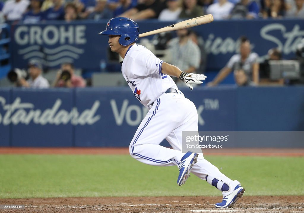 Norichika Aoki #23 of the Toronto Blue Jays grounds out as he pinch-hits in the seventh inning during MLB game action against the Tampa Bay Rays at Rogers Centre on August 14, 2017 in Toronto, Canada.