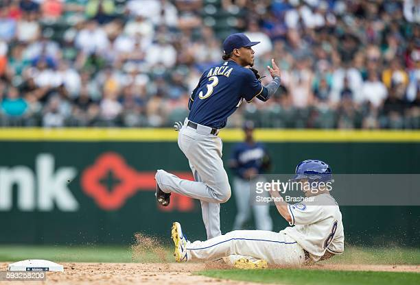 Norichika Aoki right of the Seattle Mariners tries to break up a double play on a ball hit by Seth Smith of the Seattle Mariners as shortstop Orlando...