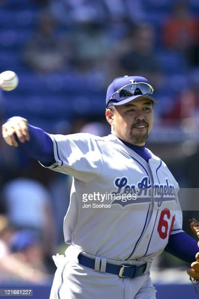 Norihiro Nakamura of Japan plays in his first game as a member of the Los Angeles Dodgers against the New York Mets The Mets beat the Dodgers 64 in...