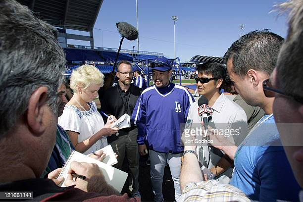 Norihiro Nakamura of Japan talks to press before the game against the New York Mets The Mets beat the Dodgers 64 in the spring training game at...