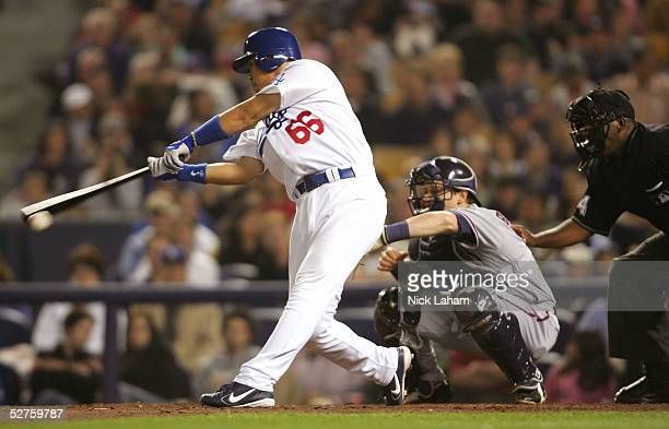 Norihiro Nakamura of the Los Angeles Dodgers hits against the Washington Nationals on May 4 2005 at Dodger Stadium in Los Angeles California The...