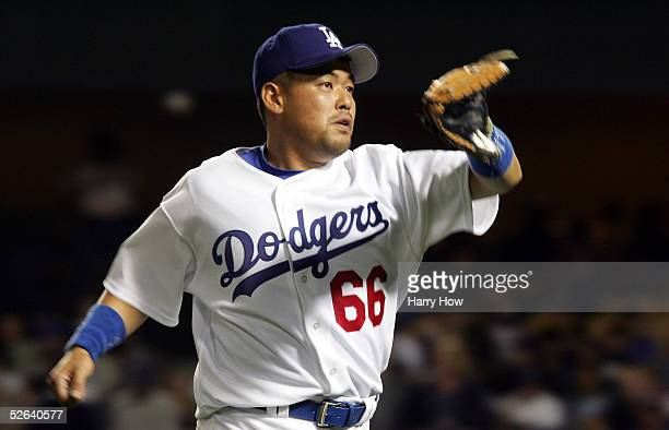 Norihiro Nakamura of the Los Angeles Dodgers plays the field against the San Diego Padres during the seventh inning on April 16 2005 at Dodger...