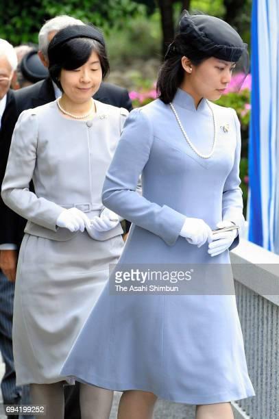 Noriko Senge and Sayako Kuroda attend the fifth anniversary memorial ceremony for late Prince Tomohito of Mikasa at Toshimagaoka cemetery on June 6...